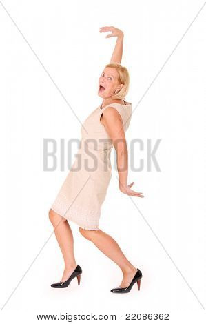 A picture of a funny mature woman posing against white background
