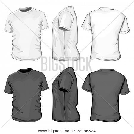 Vector. Men's t-shirt design template (front, back and side view). No mesh.