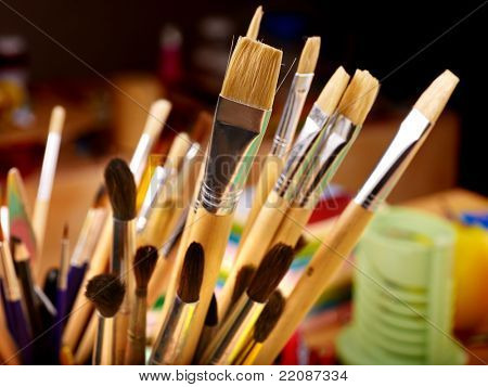 Close up of group art  brush supplies.