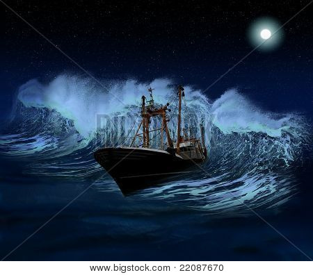 Sinking Ship At Night