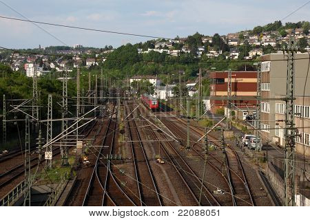 Railway In Town Siegen, Germany