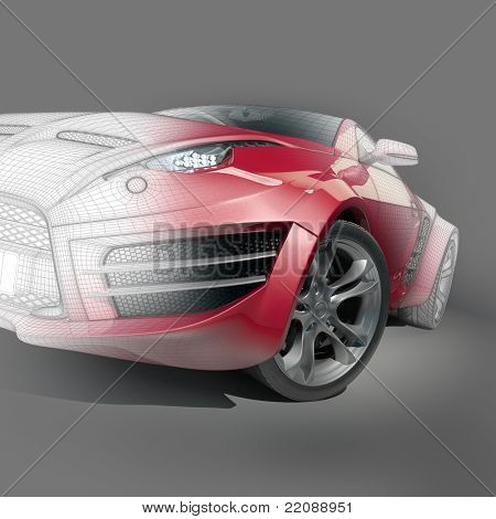 Red sports car with a wire frame. Non branded concept car.