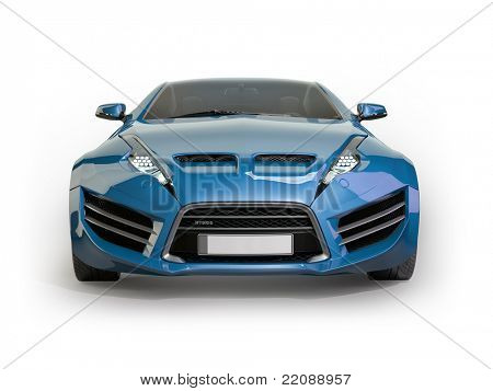 Blue sports car isolated on white background. Non branded concept car.