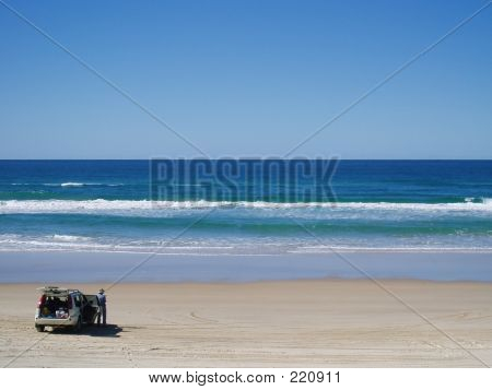 Four Wheel Drive Car At Beach