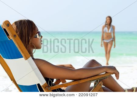 African American Girl On The Beach