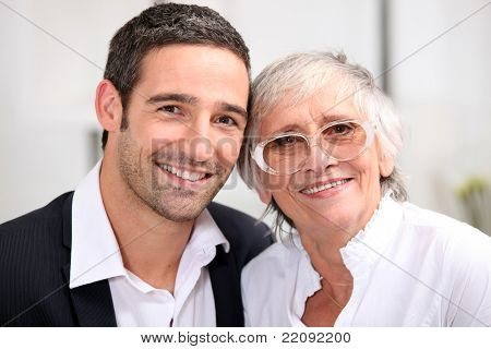 Adult son and his aging mother