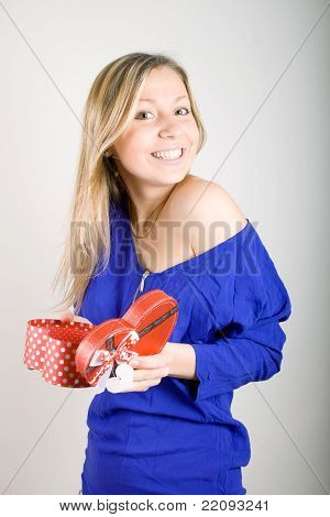 Woman With A Red Present Gift