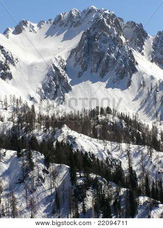 Italian Alps in winter snow