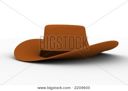 3D Render Of The Brown Cowboy Hat