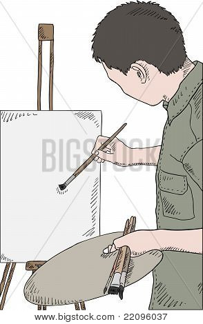 Man Holding Brushes And Palette, Painting Picture, Vector