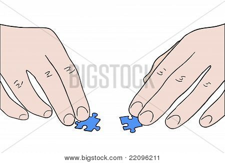 Human Hands Assembling Two Puzzle Pieces Vector
