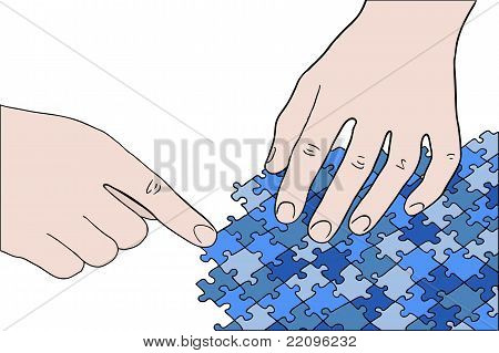 Human Hands Assembling Blue Puzzle Vector