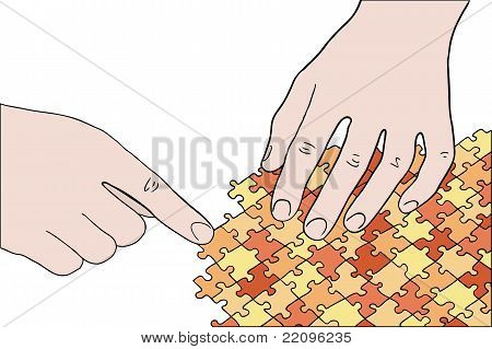 Human Hands Assembling Orange Puzzle Vector