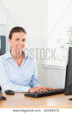Smiling Secretary In Office