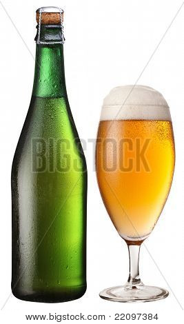 Glass and bottle of light beer. File contains a path to cut.