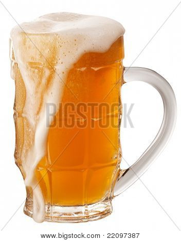 Frosty glass of unfiltered beer isolated on a white background. File contains a path to cut.