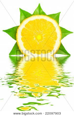 Fresh Orange Reflecting In Water