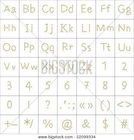 Alphabet from human footprint