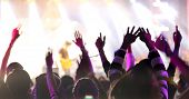 Silhouettes Of Concert Crowd At Rear View Of Festival Crowd Raising Their Hands On Bright Stage Ligh poster