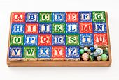 Wood Toy Blocks & Marbles poster