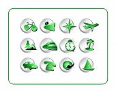 Travel Icon Set - Green-Silver poster