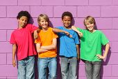 image of pre-teen boy  - group of diverse mix race kids - JPG