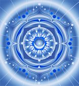 Abstract Blue Pattern, Mandala Of Vishuddha Chakra Vector