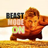 Fitness man working out exercise at gym inspirational quotes. BEAST MODE ON motivational quote wri poster