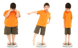 picture of morbid  - Morbidly obese child extreme underweight child and average child on scale over white - JPG