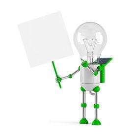 picture of lamp post  - solar powered light bulb robot  - JPG