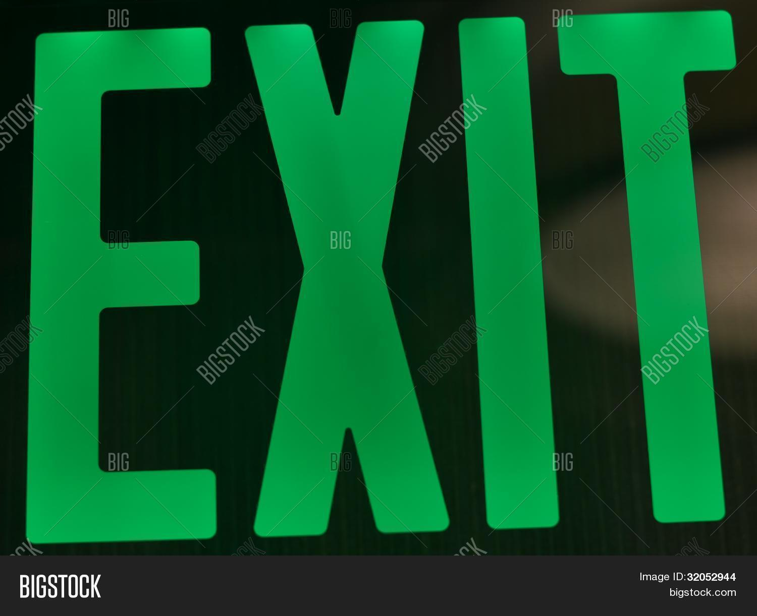Green exit sign image photo bigstock green exit sign buycottarizona Images
