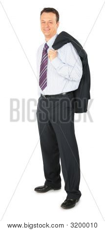 Smiling Businessman Stands