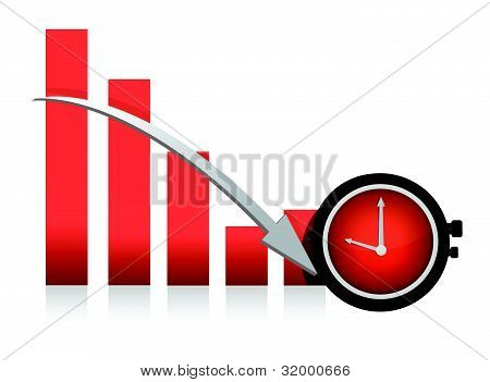 clock and falling chart illustration design