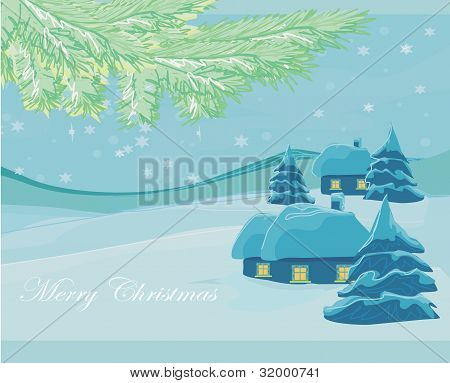 Christmas house and tree in snow-drift mountain landscape