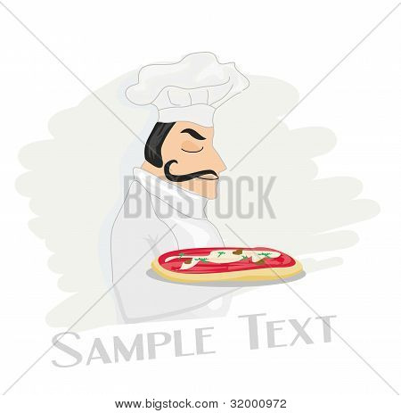 chef cook with pizza