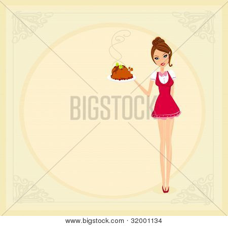 Beautiful Waitress serving a chicken