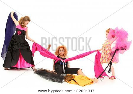 Angry Selfish Pageant Girls Fighting Over Fabric and Dress Designer Over White