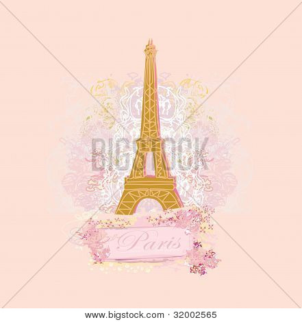 vintage retro Eiffel card , vector illustration