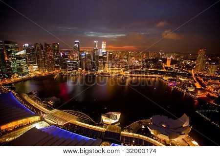 A view of Singapore from roof Marina Bay hotel, in the night time