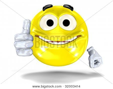 Happy smiley face, emoticon showing ok sign. On white