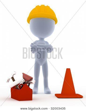 Builders, toon worker on white