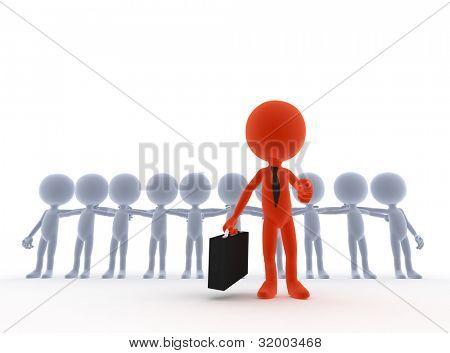 Business team leader, boss concept. 3d people