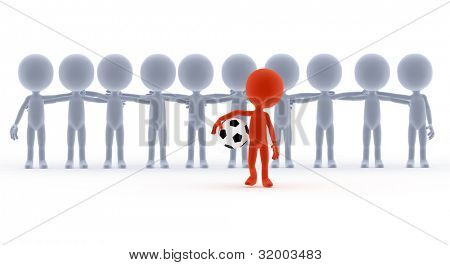 Football, soccer team leader with ball and his people. Toons, conceptual