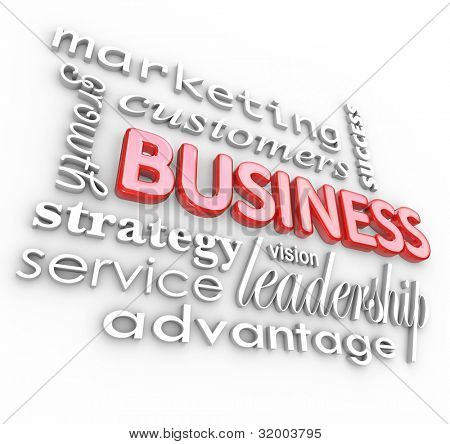 The word Business surrounded by management and organization concepts such as leadership, marketing, strategy, vision, growth, success, advantage and more as an idea background