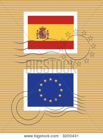 Spain And European Union - Stamps With Flag