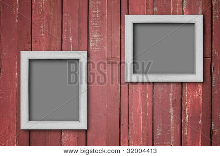 White Wood Picture Frame On Red Wall