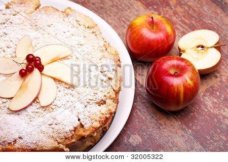 Overhead Shot Of Sour Apples Cake