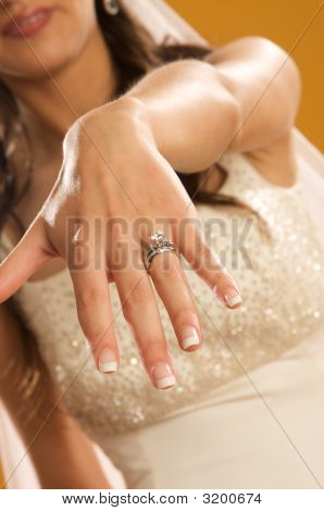 Bride Showing Off Her Diamond Wedding Ring