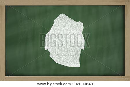 Outline Map Of Swaziland On Blackboard