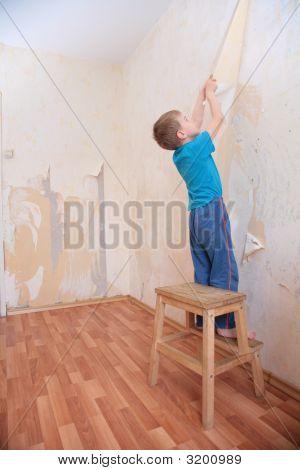 Boy Breaks Wallpapers From Wall